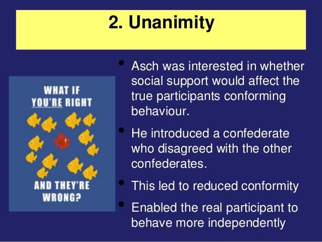 the conformity view by asch View notes - conformity conformity 1 examples of conformity conclusions • both informaponal and normapve conformity involved in the asch situapon.