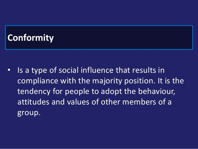explanations of conformity Types of conformity including compliance,  you can also learn about explanations for conformity here which is also in unit 1 how to reference/cite this information.