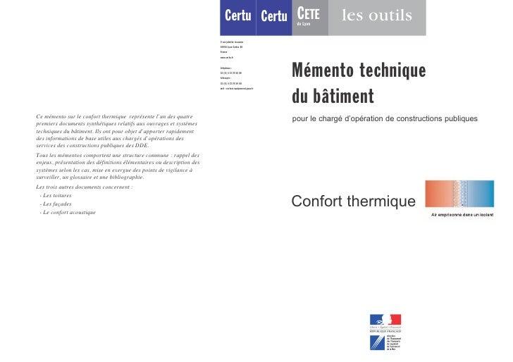 Certu CETE       de Lyon                    les outils        Mémento technique      du bâtiment      pour le chargé d'opé...