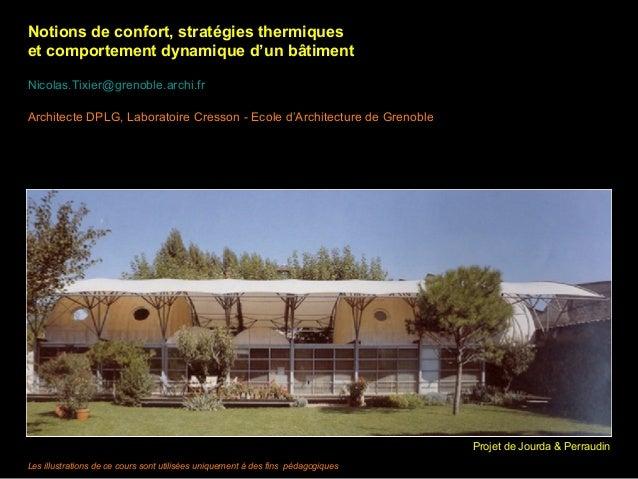 Notions de confort, stratégies thermiques et comportement dynamique d'un bâtiment Nicolas.Tixier@grenoble.archi.fr Archite...