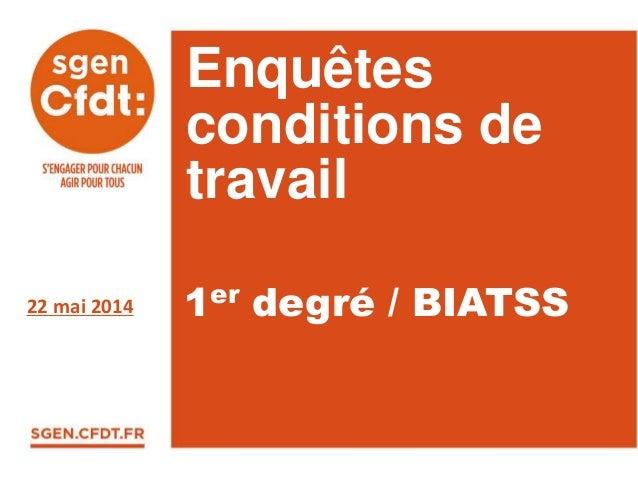 Enquêtes conditions de travail 22 mai 2014 1er degré / BIATSS