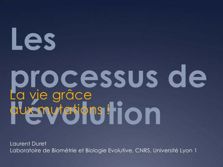 Les processus de l'évolution  La vie grâce aux mutations !  Laurent Duret Laboratoire de Biométrie et Biologie Evolutive, ...