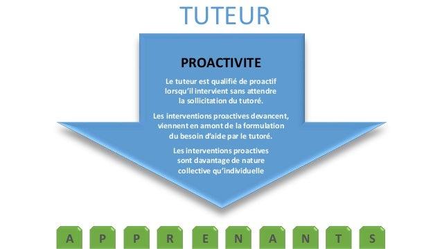 TUTEUR  PROACTIVITE  Le tuteur est qualifié de proactif  lorsqu'il intervient sans attendre  la sollicitation du tutoré.  ...