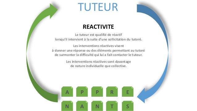 TUTEUR  REACTIVITE  Le tuteur est qualifié de réactif  lorsqu'il intervient à la suite d'une sollicitation du tutoré.  Les...