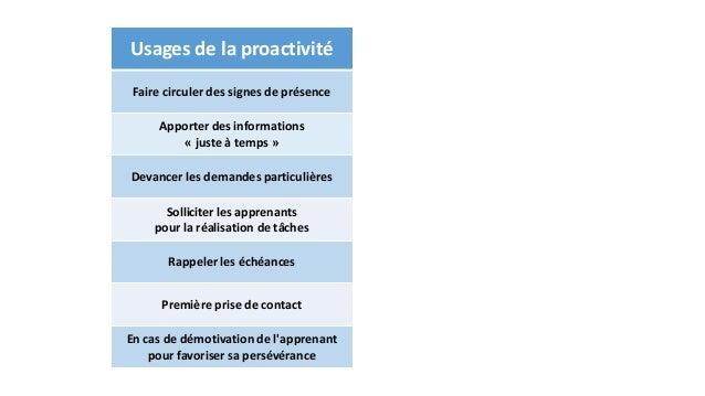 Usages de la proactivité  Faire circuler des signes de présence  Apporter des informations  « juste à temps »  Devancer le...