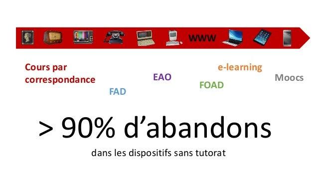 WWW  Cours par  correspondance  FAD  EAO  e-learning  FOAD  Moocs  > 90% d'abandons  dans les dispositifs sans tutorat