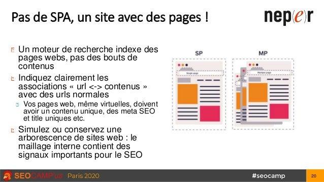 Pas de SPA, un site avec des pages ! Un moteur de recherche indexe des pages webs, pas des bouts de contenus Indiquez clai...