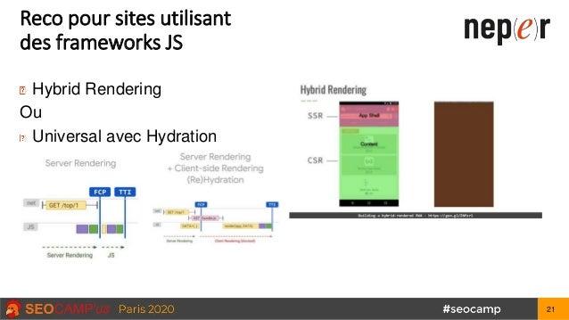 Reco pour sites utilisant des frameworks JS Hybrid Rendering Ou Universal avec Hydration 21