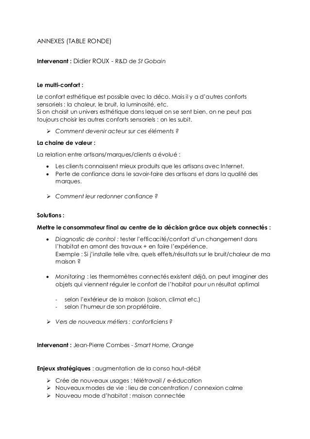 ANNEXES (TABLE RONDE) Intervenant : Didier ROUX - R&D de St Gobain Le multi-confort : Le confort esthétique est possible a...