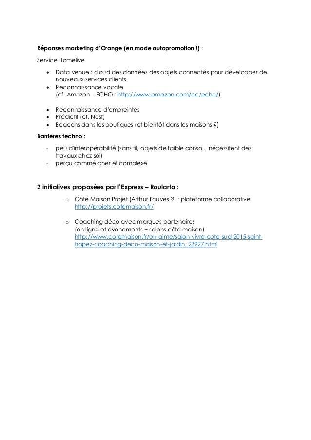 Réponses marketing d'Orange (en mode autopromotion !) : Service Homelive  Data venue : cloud des données des objets conne...