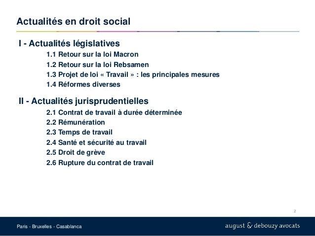 Conférence actualité droit social du 05 juillet 2016 à l'ENOES Slide 2