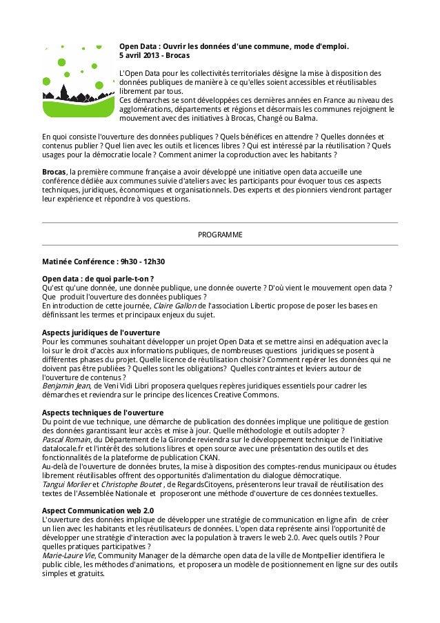 Open Data : Ouvrir les données dune commune, mode demploi.                        5 avril 2013 - Brocas                   ...