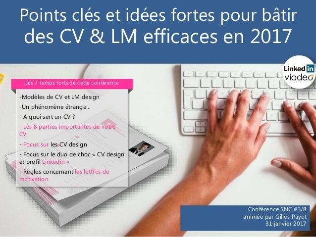 Points clés et idées fortes pour bâtir des CV & LM efficaces en 2017 Conférence SNC #3/8 animée par Gilles Payet 31 janvie...