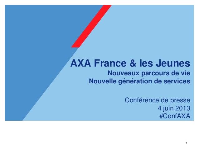 1AXA France & les JeunesNouveaux parcours de vieNouvelle génération de servicesConférence de presse4 juin 2013#ConfAXA