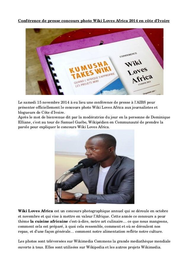 ConférencedepresseconcoursphotoWikiLovesAfrica2014encôted'Ivoire Lesamedi15novembre2014àeulieuuneconfé...