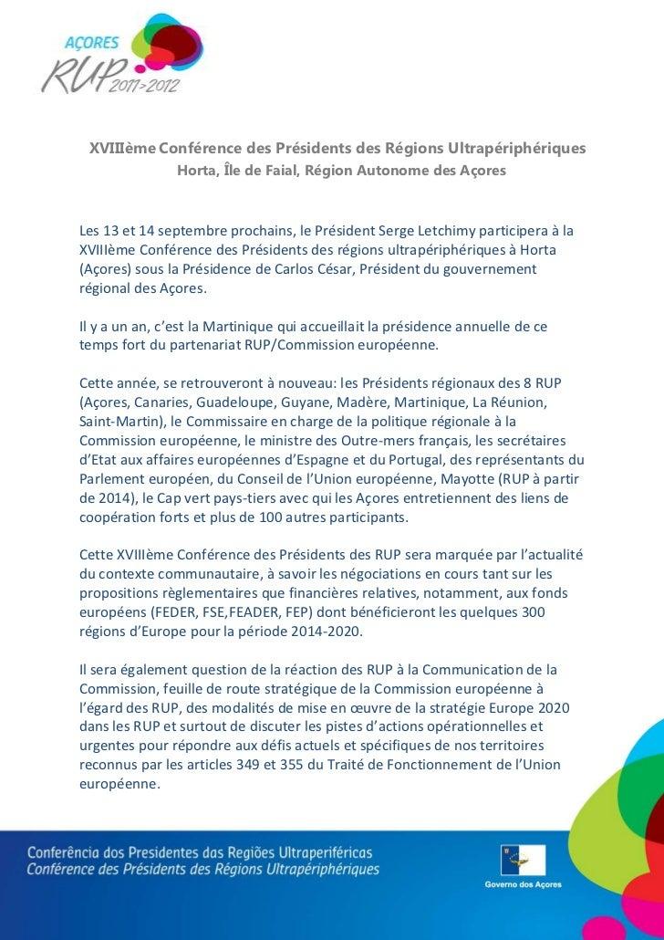 XVIIIème Conférence des Présidents des Régions Ultrapériphériques                Horta, Île de Faial, Région Autonome des ...