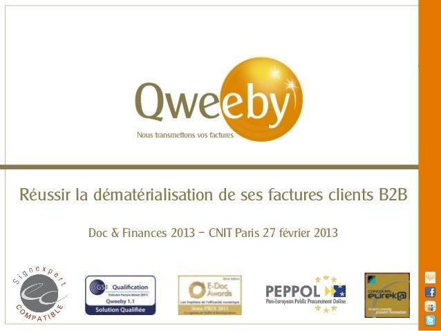 Réussir la dématérialisation de ses factures clients B2B          Doc & Finances 2013 – CNIT Paris 27 février 2013        ...