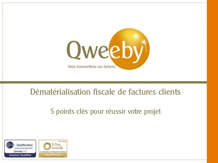 Dématérialisation fiscale de factures clients       5 points clés pour réussir votre projet    © QWEEBY – 2012 – La techno...