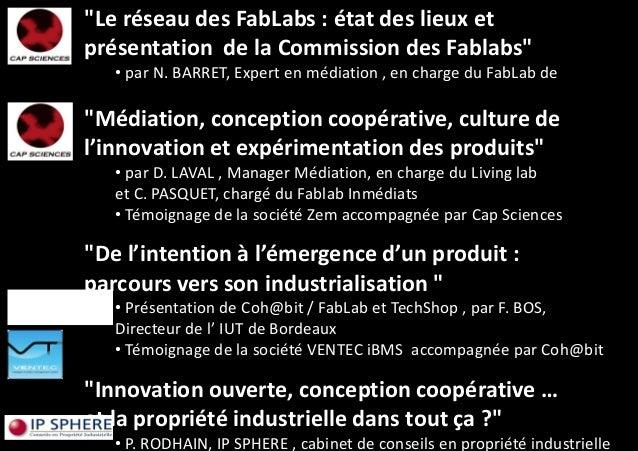 Conf rence fablabs ateliers de fabrication num rique et d - Cabinet de conseil en propriete industrielle ...