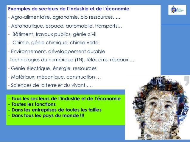 Exemples de secteurs de l'industrie et de l'économie - Agro-alimentaire, agronomie, bio ressources….. - Aéronautique, es...