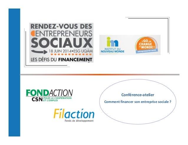 Conférence-atelier  Comment financer son entreprise sociale ?