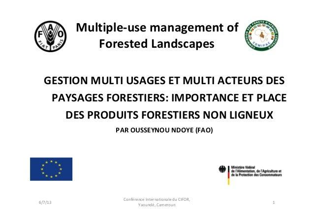 Multiple‐usemanagementofForestedLandscapesGESTIONMULTIUSAGESETMULTIACTEURSDESPAYSAGESFORESTIERS:IMPORTANCEETP...