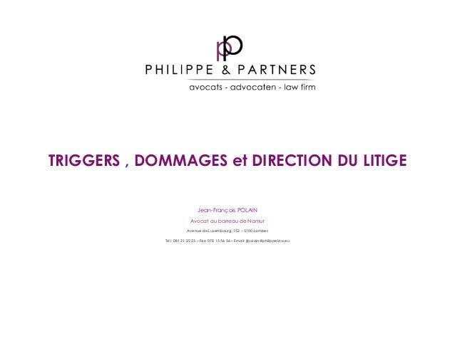 TRIGGERS , DOMMAGES et DIRECTION DU LITIGE Jean-François POLAIN Avocat au barreau de Namur Avenue de Luxembourg, 152 – 510...