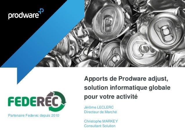 Apports de Prodware adjust, solution informatique globale pour votre activité  Jérôme LECLERC  Directeur de Marché  Christ...