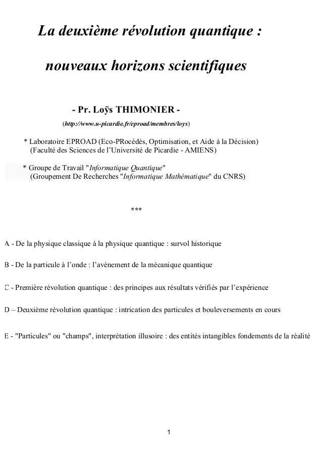 La deuxième révolution quantique : nouveaux horizons scientifiques - Pr. Loÿs THIMONIER (http://www.u-picardie.fr/eproad/m...