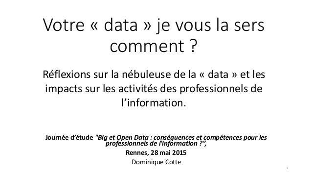 """Votre « data » je vous la sers comment ? Journée d'étude """"Big et Open Data : conséquences et compétences pour les professi..."""