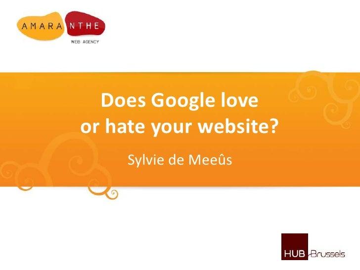 "SEO Workshop : ""Does Google love or hate your website"""