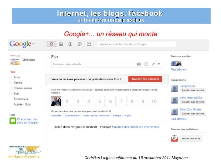 Internet, les blogs, Facebook     et les autres réseaux sociaux Google+... un réseau qui monte       Christian Laigle conf...