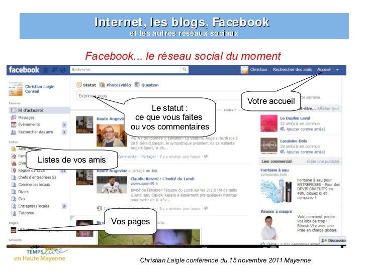 Internet, les blogs, Facebook                         et les autres réseaux sociaux            Facebook... le réseau socia...