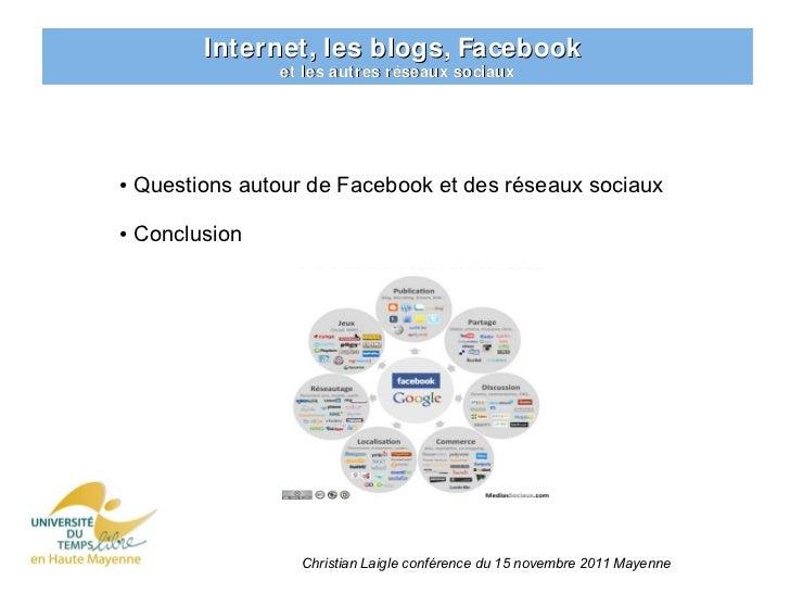 Internet, les blogs, Facebook                  et les autres réseaux sociaux●   Questions autour de Facebook et des réseau...