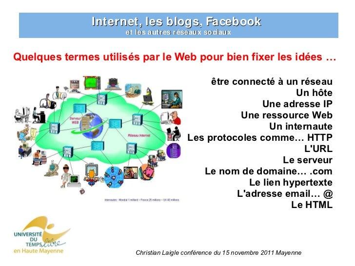 Internet, les blogs, Facebook                     et les autres réseaux sociauxQuelques termes utilisés par le Web pour bi...
