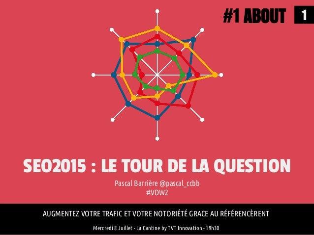 1 SEO2015 : LE TOUR DE LA QUESTION Pascal Barrière @pascal_ccbb #VDW2 AUGMENTEZ VOTRE TRAFIC ET VOTRE NOTORIÉTÉ GRACE AU R...