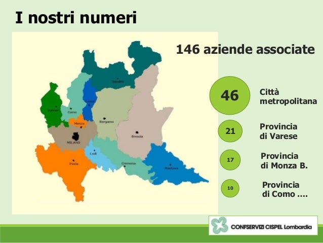 I nostri numeri 146 aziende associate 46 21 17 Città metropolitana Provincia di Varese Provincia di Monza B. 10 Provincia ...