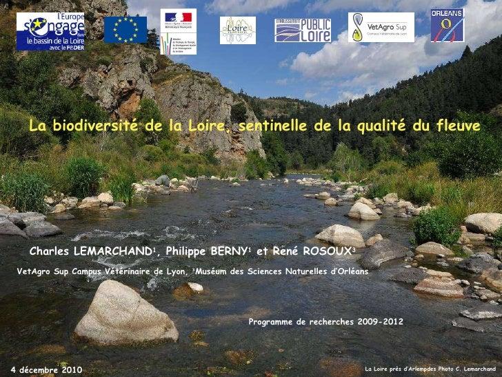 La Loire près d'Arlempdes Photo C. Lemarchand Charles LEMARCHAND 1 , Philippe BERNY 1  et René ROSOUX 3 VetAgro Sup Campus...