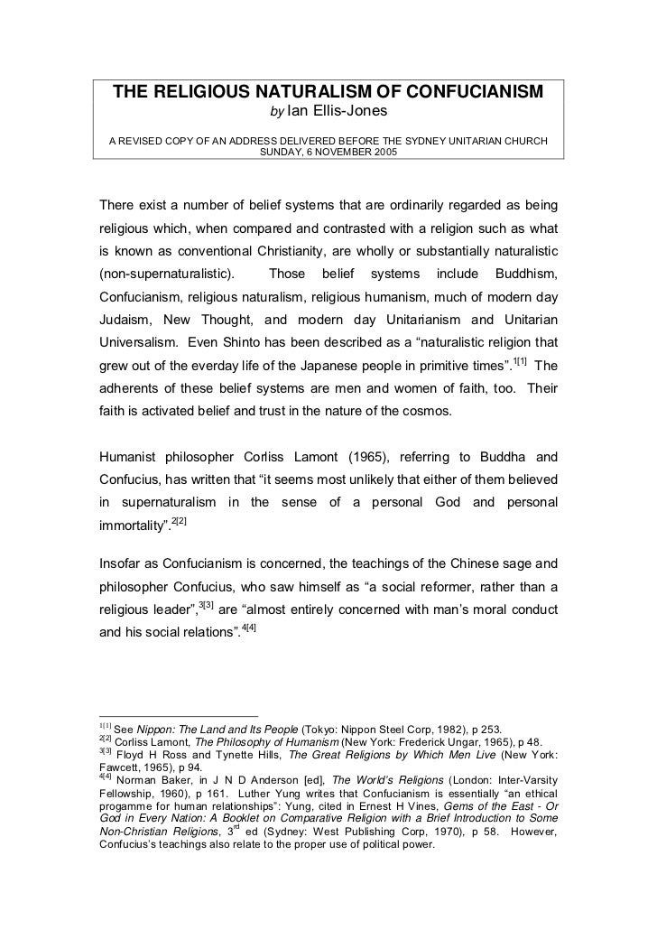 THE RELIGIOUS NATURALISM OF CONFUCIANISM                                 by Ian Ellis-Jones   A REVISED COPY OF AN ADDRESS...