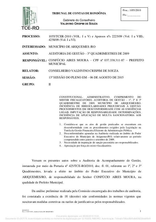 IIC/GCVCS Proc. nº 1055-2010 _Auditoria Gestão_PM ARIQUEMES 1 TRIBUNAL DE CONTAS DE RONDÔNIA Gabinete do Conselheiro VALDI...
