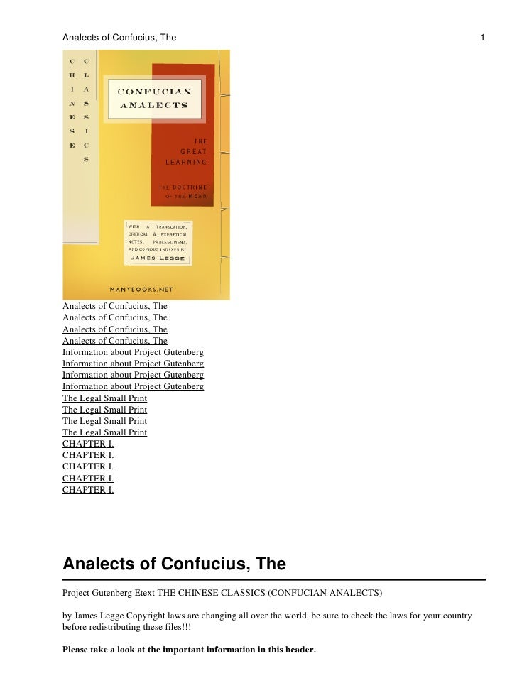 Analects of Confucius, The                                                                                  1     Analects...