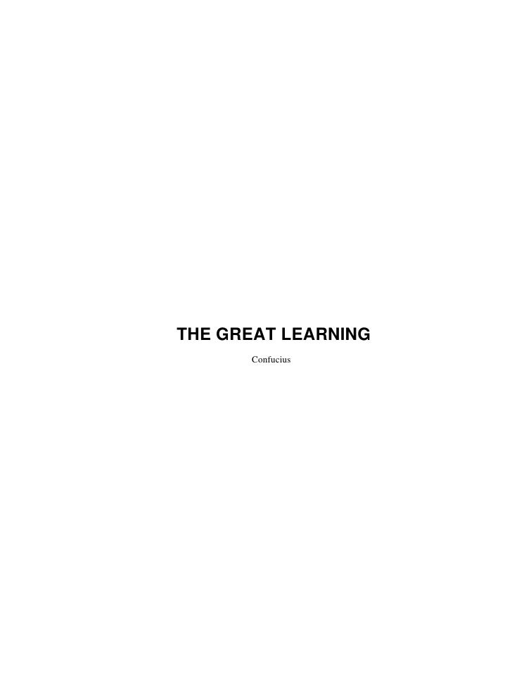 THE GREAT LEARNING       Confucius
