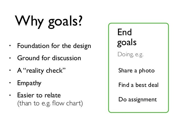 """• Foundation for the design • Ground for discussion • A """"reality check"""" • Empathy • Easier to relate (than to e.g. flow cha..."""