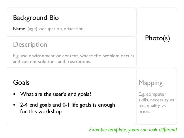 Example template, yours can look different! Background Bio Name, (age), occupation, education Photo(s) Description E.g. us...