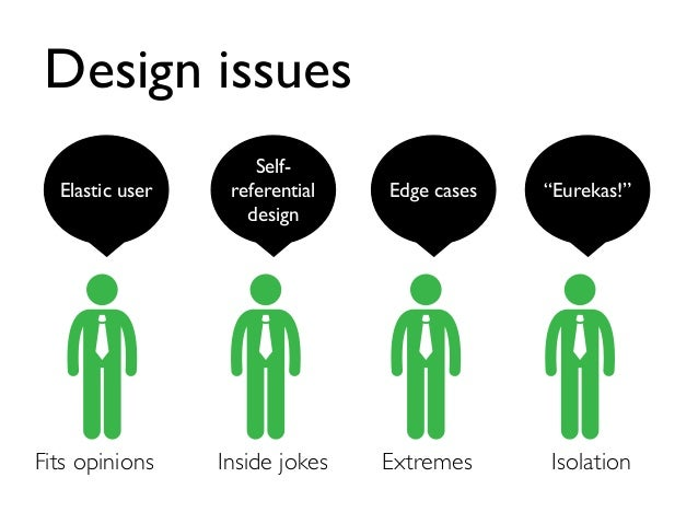 """Design issues Elastic user Self- referential design Fits opinions Inside jokes Edge cases Extremes """"Eurekas!"""" Isolation"""