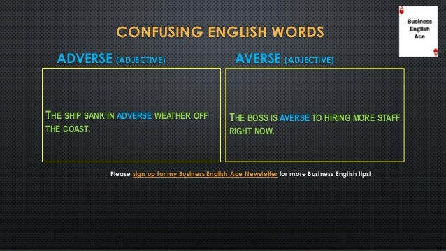 confusing english words  averse