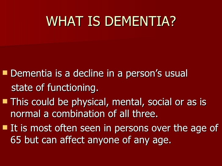what is dementia Dementia is not a disease in itself - but a group of symptoms that may accompany a number of diseases that affect your brain read more about dementia here.