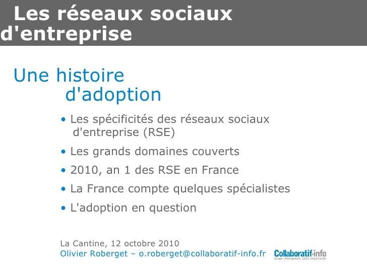 Les réseaux sociaux d'entreprise <ul><li>•  Les spécificités des réseaux sociaux d'entreprise (RSE) </li></ul><ul><li>•  L...