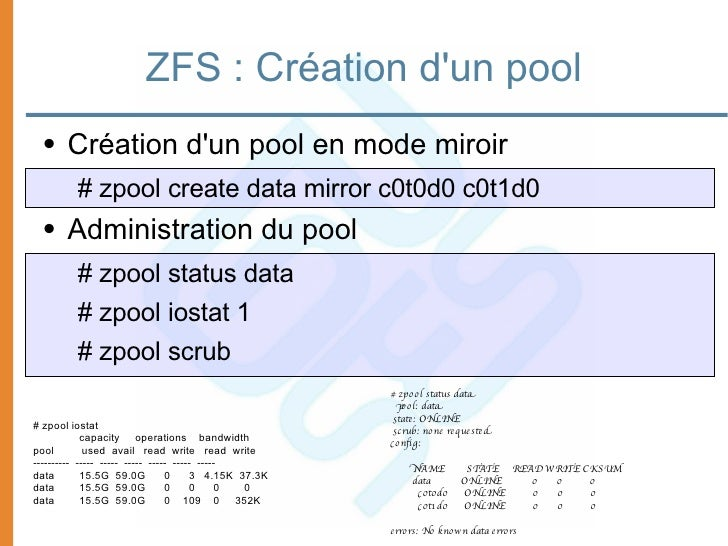Open solaris introduction aux zones et zfs for Mirror 0 zfs