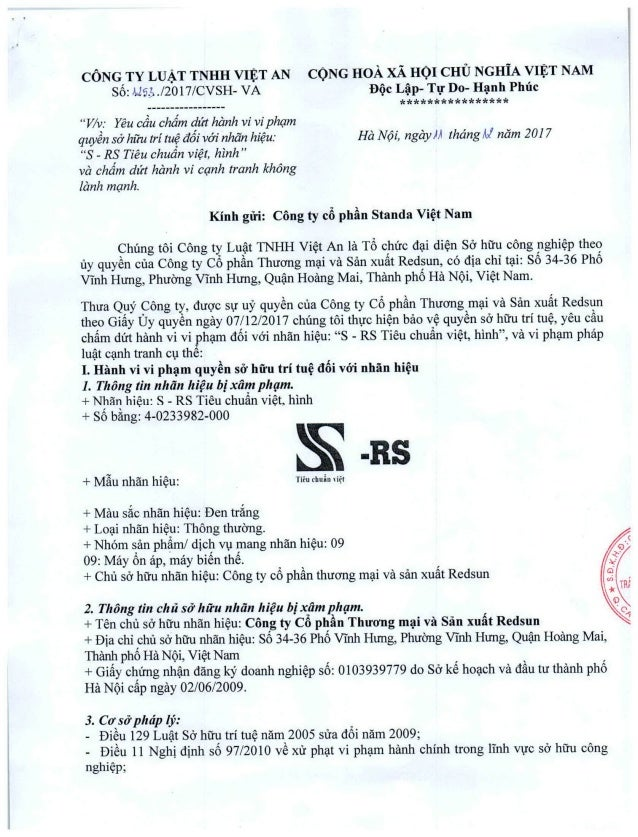 Công văn gửi Công ty Cổ Phần Standa Việt Nam về việc sản xuất hàng giả nhái nhãn hiệu trên ổn áp Standa